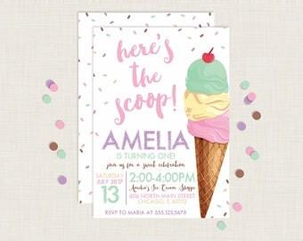 Ice Cream Invitation | Ice Cream Party Invitation | Ice Cream Invite | Ice Cream Birthday Invitation | Ice Cream Social | Sprinkles