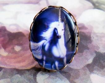 Unicorn 1 adjustable bronze ring setting glass cabochon