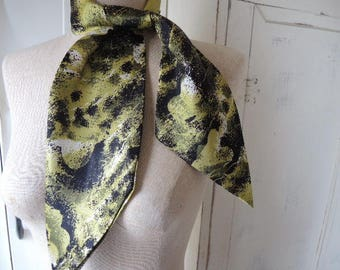 Vintage 1960s acetate scarf abstract olive green black and white  4 x 41 inches