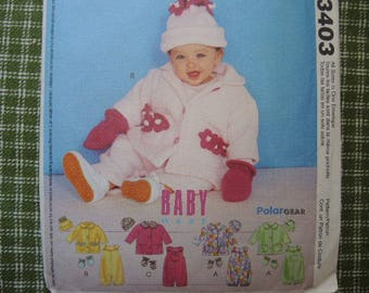 2000s McCalls sewing pattern 3403 Infants jumpsuit with snap crotch jacket hat and mittens all sizes S-XL