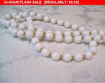 Vintage Monet white beaded necklace, classic beads, estate jewelry
