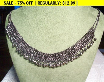 Dangling bead choker necklace, vintage, retro