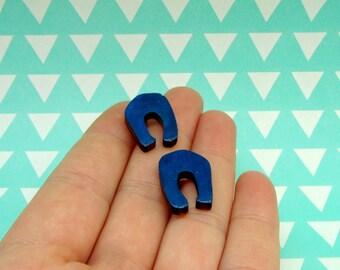 Wooden Horseshoe Stud Earrings - Lucky Earrings - Good Luck Gift - Wooden Jewellery - Laser Cut Jewelry - Navy Blue Earrings - Minimal Style