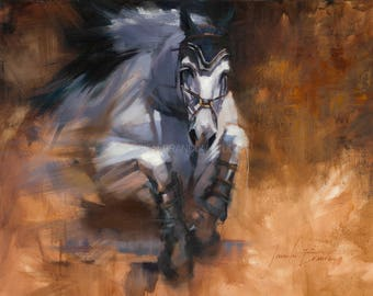 Equestrian Breakthrough Oil Painting