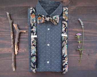 Suspenders and bow tie for men, Black suspenders set with pattern, Floral suspenders set, Wedding accessories, for groom, Shirt accessories