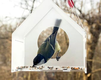 Modern Acrylic Bird Feeder, Bird Feeder, Hanging Bird Feeder, Window Bird Feeder, Modern Bird Feeder, House, Bird watching, Bird lover gift,