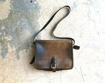 Authentic Vintage Coach Purse Dark Brown Leather Coach 80's 90's Messenger Handbag Saddle Pouch Bag Glove Leather L