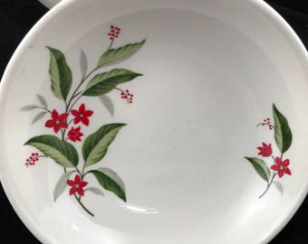Universal, Ballerina, Woodvine pattern, bowls, set of 8, floral red and green