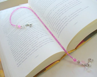 Pink Beaded Bookmark, Book Thong, Horse Bookmark, Pink and Gray,  Book Lover, Book Jewelry, Book Accessories, Gift for Her