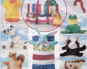 FF Butterick 5294 Bean Bag Animal Pals Pattern, Stuffed Animals Sewing Pattern, Cat Pig Owl Bunny Dog Cow Frog Squirrel Lizard UNCUT