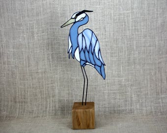 Blue Heron Stained Glass Bird Panel on Cherry Base, Glass Art