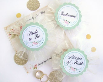 Mint Green Bridal Shower Corsage, Floral Bride Badge, Mint Green Bachelorette Party Pins, Bride Pin, Hen Party Pins, Wedding Party Badge