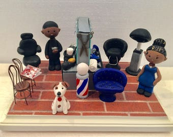 Polymer clay diorama,barbershop,salon,Cosmetologist,hair stylist,Beautician,Hair cuts,hand crafted