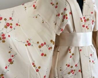 Short Japanese silk kimono, haori, cream cherry blossom