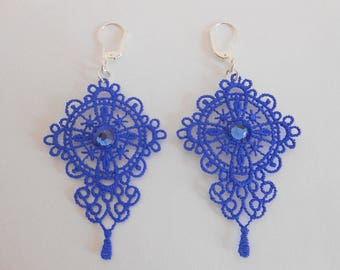 Lace earrings royal blue with crystal pastes of swarovski and silver ties 925