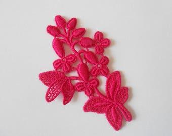 Lace applique pink fuchsia 7 x 5 cm