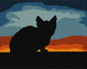 Needlepoint Kit or Canvas: Cat Sunset