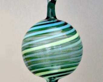 Hand Blown Ornament, Small Teal Ornament, Blue & Green Striped Ornament, Hostess Gift, Small Suncatcher, Gift Box