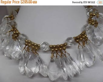 ON SALE YSL Yves Saint Laurent Signed Clear Lucite and Gold Beaded Necklace Set