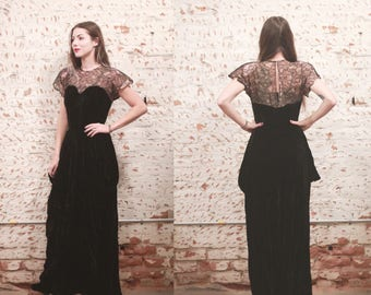 Vintage 1940s Party Lines by Domb / Emma Domb velvet & lace evening gown formal maxi dress - sweetheart neckline - bustier - keyhole cutout