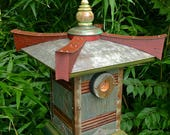 RESERVED for Diana: The Pagoda—Japanese Style Birdhouse From Reclaimed Wood and Metal