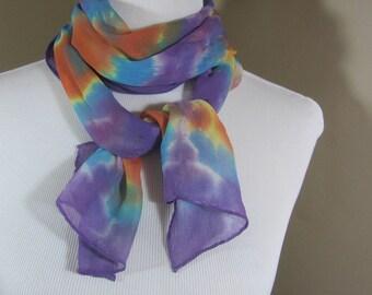 Hand dyed purple and orange silk chiffon scarf -