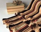 Vintage Crochet Afghan, Hand Knitted Coverlet, Striped Lap Robe Blanket, Warm Earth Tones, Bedroom Rustic Cabin Decor, 1970s Textiles