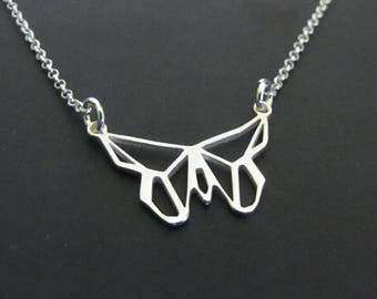 Origami Butterfly Necklace, Sterling Silver Necklace, Geometric Necklace, Charm Necklace, Jewelry, Gift for her