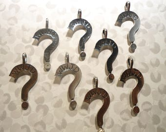 8 Silverplated What Would Jesus Do Question Mark Charm Pendants