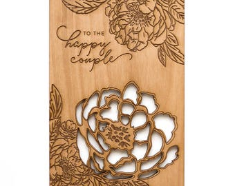To the Happy Couple- Wedding Card, Love Card, Peonies