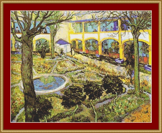 The Courtyard Of Hospital In Arles Cross Stitch Pattern /Digital PDF Files /Instant downloadable
