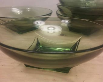 "Rare Hazel Atlas ""Colony Square"" Collection Mid Century Square-Based Clear Green Soup or Cereal Bowls, Set of Five (5)"