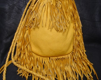 Elk hide draw string bag