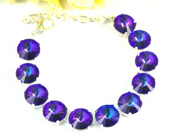 Crystal Bracelet Purple Bracelet Swarovski Heliotrope Crystal Rivoli Bracelet Chunky Bracelet Bridesmaid Gift Many Colors Available HE34BR