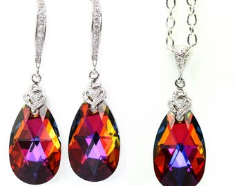 Swarovski Bridesmaid Gift Volcano Crystal Earrings & Necklace Set Cobalt Amber Purple Orange Cubic Zirconia Jewelry Statement Jewelry VO32JS