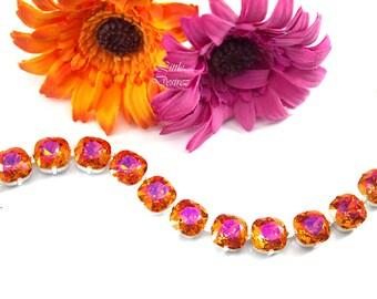 Orange Hot Pink Swarovski Bracelet Fuchsia Orange Chunky Bracelet Swarovski 12mm Cushion Cut Crystal Statement Jewelry Link Bracelet AP50BR
