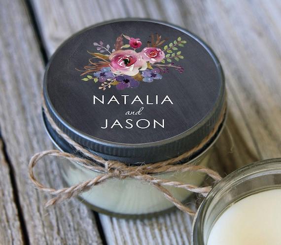 12 - 4 oz Soy Candle Wedding Favors - Chalkboard Floral Label - Bridal Shower Favors - Chalkboard Bridal Shower Favor - Mason Jar Favor
