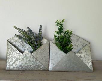 Galvanized Envelope Hanging Wall Pocket Farmhouse Planter