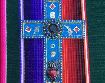 Handmade painted cross Mexican folk art Dia de Los Muertos