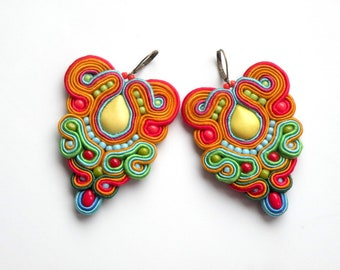 Earrings-Soutache Jewelry-Hand Embroidered-Colorful-OOAK Spring