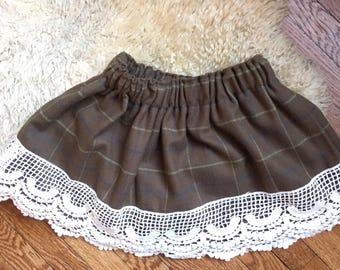 Chocolate Check Flannel Twirl Skirt, toddler, little girl