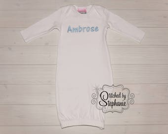 Personalized baby boys gown monogrammed blue name on white shower gift