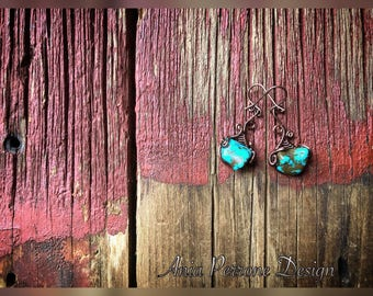 Antique Copper Wire Wrapped Turquoise Earrings Statement Steampunk Fairy Gypsy Boho