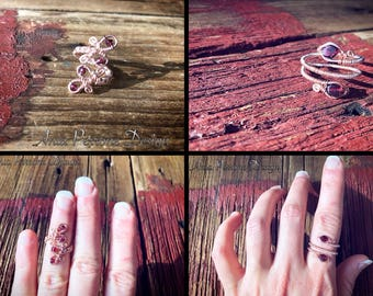 20% OFF SALE Rose Gold Wire Wrapped Ring Garnet Gemstone Midi Ring Wrap Ring Bohemian Boho Jewelry