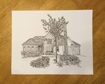 Custom House Portrait, Home Drawing