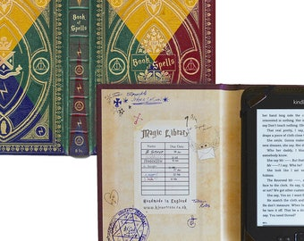 Harry Potter Hogwarts House Themed Kindle Case - Book of Spells