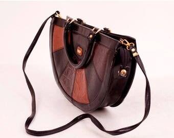 25% OFF Vintage Faux Bag / Patchwork Leather Bag / Half Moon Bag / Woman Bag / Woman Shoulderbag / 70s Shoulderbag / 70s Bag / Tote Bag