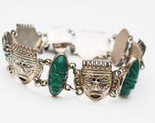 Sterling  face link bracelet -  Carved Green Onyx - Silver Tribal Mask - Signed Mexico BGM