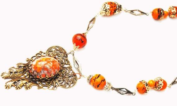 orange glass  gold filigree Necklace  -speckled orange black art glass - silver link - Mid century - glass bead