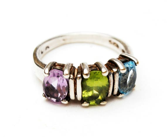 Multi gemstone ring - Sterling silver - Amethyst Peridot Topaz - triple stone ring size